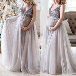 Pregnant Womens Sequin Maternity Dress Photography Maxi Phot