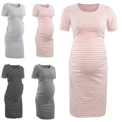 Maternity Striped Bosycon Midi Dress Pregnant Short Sleeve P
