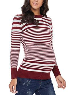 Ecavus Womens Pullover Maternity Cowl Neck Sweater Knit Long