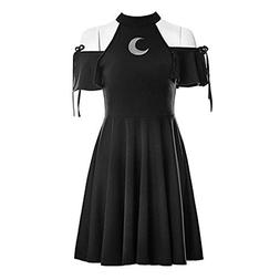 Punk Moon Pattern Dress Black Color Gothic Girls Hollow Out