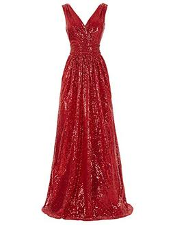Red Sleeveless Sequined Bridesmaid Dress Red Long Prom Dress