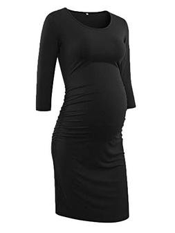 Liu & Qu Women's Ruched Maternity Bodycon Dress Mama Causual