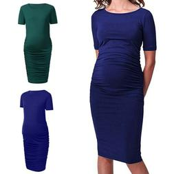 S-XL Women Mom Maternity Pregnancy Dress Ruched Solid Dresse