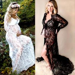 Sexy Pregnant Women Lace Maternity Long Gown Maxi Deep V Dre