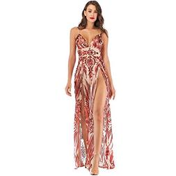Ghazzi Women Dresses Sexy V Neck Floral Party Prom Maxi Dres