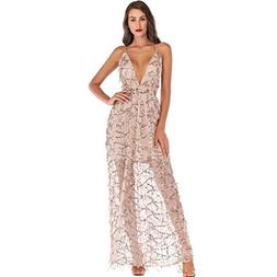 Ghazzi Women Dresses Sexy Lace V Neck Sequin Party Prom Maxi