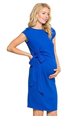 My Bump Women's Side Bow Tie Cap Sleeve Solid Color Maternit