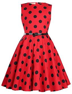 sleeveless vintage polk dot dresses for girls