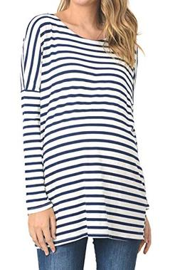 Hello MIZ Women's Stripe Drop Shoulder Long Sleeve Maternity