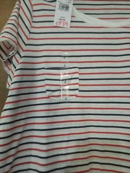 Motherhood Maternity Striped Red White And Blue Tee Large