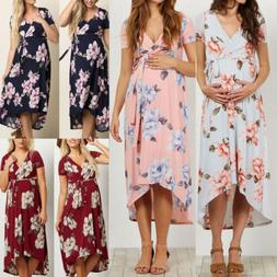 Summer Women Maternity Dresses for Pregnant Floral Loose Lon