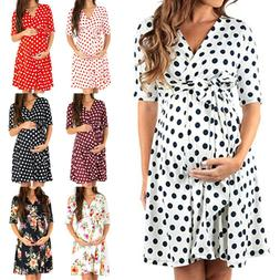 Summer Womens Pregnant Maternity Floral Party Short Wrap Dre
