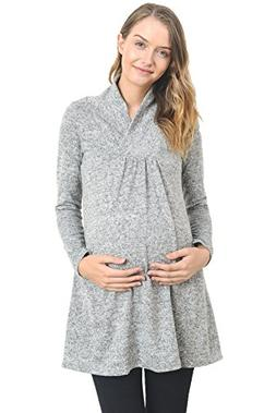 Hello Miz Women's Sweater Knit Maternity Long Sleeve Tunic T