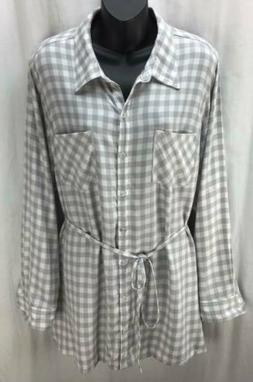 Isabel Maternity Top Extra Extra Large Gray Plaid Button Lon