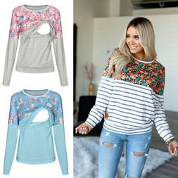 US Maternity Clothes Breastfeeding Lace T-Shirt nursing Tops