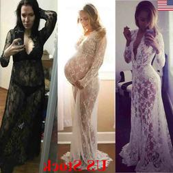 US Plus Size Lace Maternity Photography Props Long Dress Clo