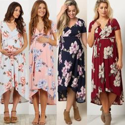 US Pregnant Women Long Maxi Dresses Floral Maternity Gown Ph