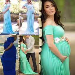 US Pregnant Women Long Maxi Gown Photography Off Shoulder Ma