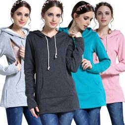 US Stock Maternity Clothes Breastfeeding Tops Women Hoodie W