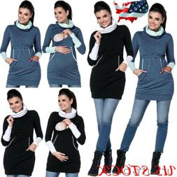 US Warm Women Pregnant Maternity Clothes Nursing Hoodie Tops
