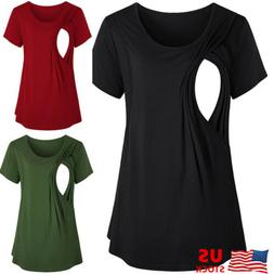 US Women Maternity Clothes Breastfeeding Tee Nursing Tops Sh
