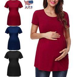 US Women Pregnancy Solid Short Sleeve Tops Nusring Maternity