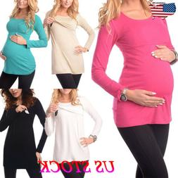 US Women Pregnant Maternity Clothes Long Sleeve Tops T-Shirt