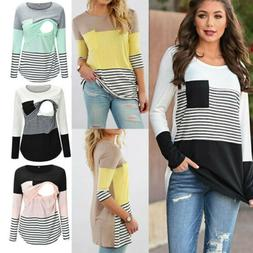 USA Women Maternity Clothes Breastfeeding Pregnant Stripe T-