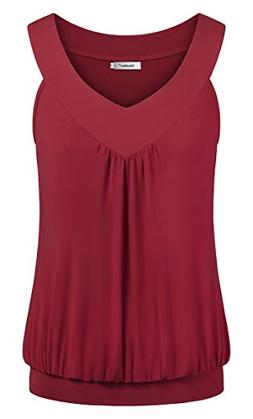 Sixother Women's Summer Comfy Blouse, Sleeveless Fitted Tuni