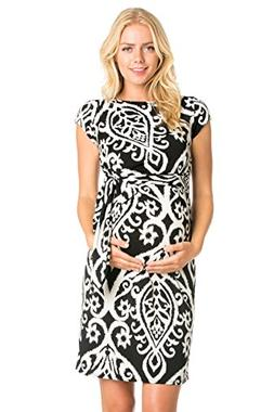 My Bump Women's Various Print Side Bow Tie Cap Sleeve Matern
