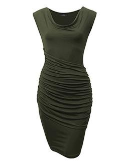 Made By Johnny MBJ Womens Cowl Neck Sleeveless Pleats Detail