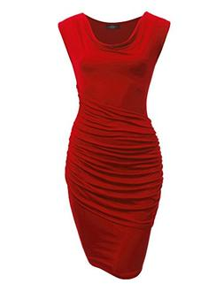 Made By Johnny WDR1186 Womens Cowl Neck Sleeveless Pleats De