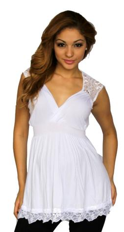 White Lace Maternity Pregnancy Top Short Sleeve Solid Work A