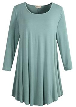 LARACE Women 3/4 Sleeve Tunic Top Loose Fit Flare T-Shirt