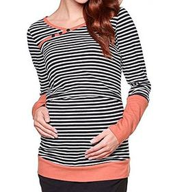 BEAdressy Women Double Layer Striped Print Long Sleeve Mater