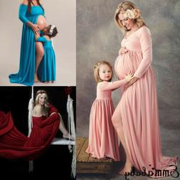 Women Gown Maternity Maxi Dress Family Match Mother Kid Phot