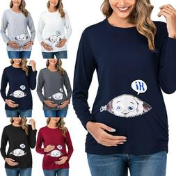 Women Maternity Clothes Funny Baby Peeking Shirt Pregnant T