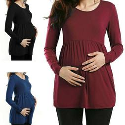 Women Maternity Clothes Long Sleeve Loose Tops Solid Casual