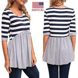 Women Casual Striped Printed Half Sleeve Stitching T-Shirt M