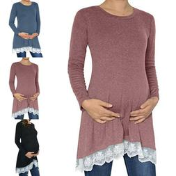 Women Maternity Lace Clothes Long Sleeve Hem Loose Tunic Pre