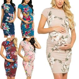 Women Maternity Party Floral Print Short Sleeve Bodycon Dres