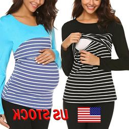 Women Maternity Pregnant Tops Long Sleeve Stripe Blouse Tee