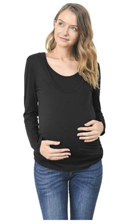 LaClef Women Maternity Round Neck Long Sleeve Nursing Breast