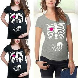 women maternity short sleeve skeleton print tops
