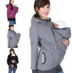 Women Maternity Striped Baby Pouch Carrier Hoodie Kangaroo Z