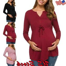 Women Maternity Tops Clothes Long Sleeve Loose Solid Casual