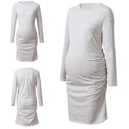 Women Mom Maternity Pregnancy 3/4 Sleeve Round Neck Ruched S