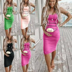 Women Mom Pregnancy Cartoon Bodycon Vest Sleeveless Mini Dre