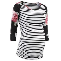 Women Mom Pregnancy Floral Tops T Shirt Striped Blouse Splic