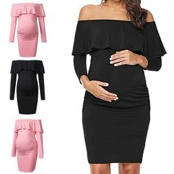 Women Mom Pregnancy Off Shoulder Party Ruffles Solid Dress M